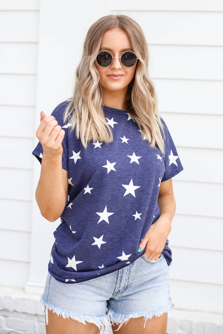 Navy - Star Print Cross Back Top