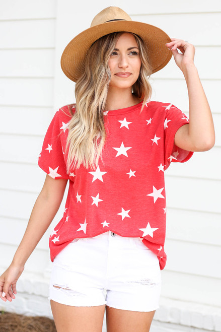 Model wearing Red Star Print Cross Back Top Front View