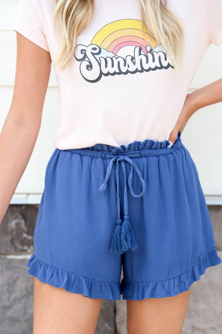 Blue - Ruffled Drawstring Paperbag Waist Shorts Detail View
