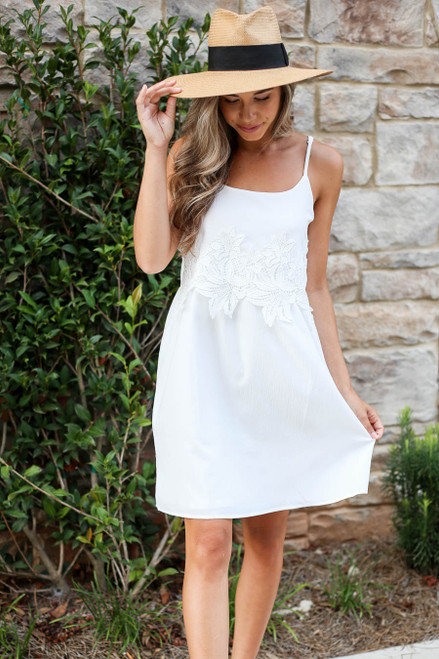 Model wearing White Sleeveless Crochet Lace Dress Front View