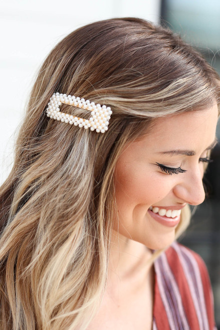 White - Pearl Cut Out Rectangle Hair Clip on Model