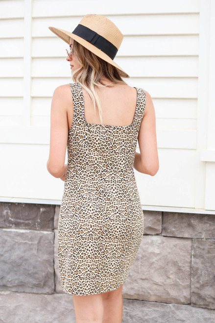 Model wearing Leopard Print Button Front Dress Back View