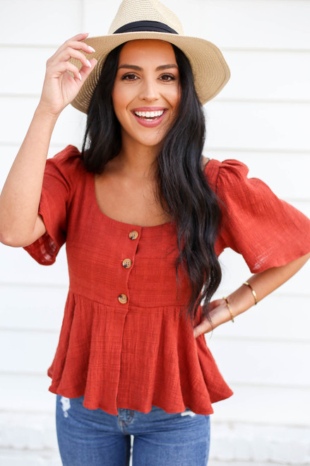Rust - Button Front Cropped Peplum Top