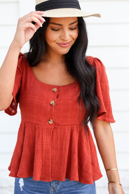 Rust - Button Front Cropped Peplum Top Detail View