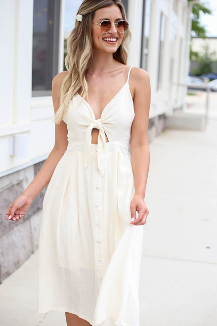 Model wearing Ivory Tie Front Midi Dress Front View
