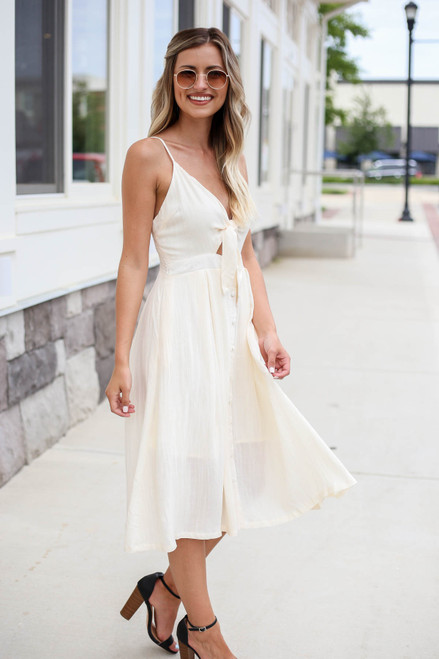 Ivory - Tie Front Midi Dress Side View