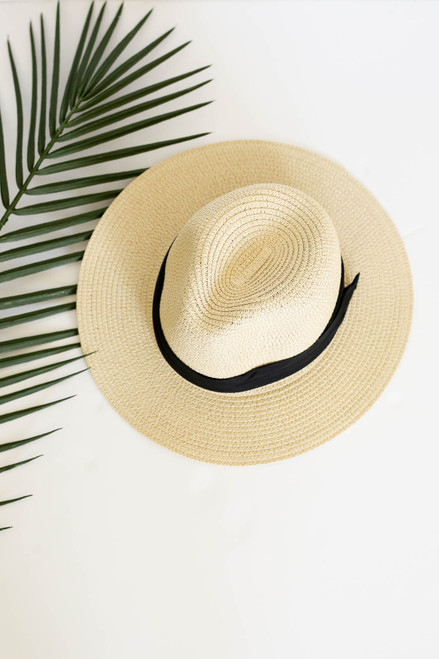 Natural - Straw Fedora Hat Flay Lay