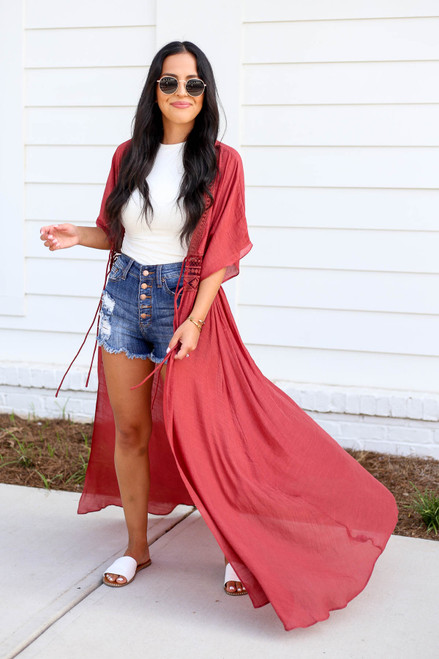 Model wearing Rust Embroidered Lace Duster Open Side View