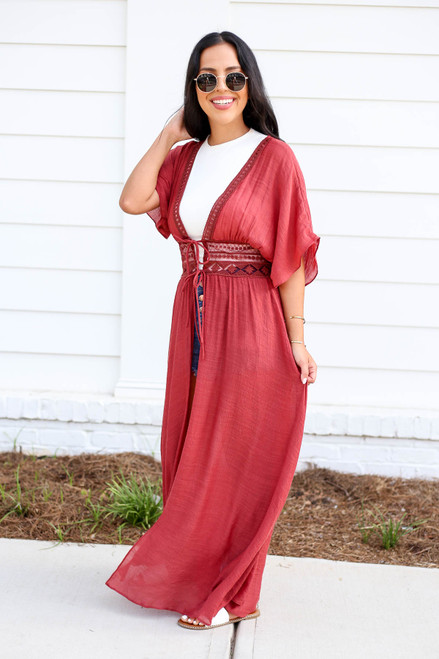 Model wearing Rust Embroidered Lace Duster Side View