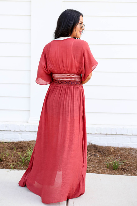 Model wearing Rust Embroidered Lace Duster Back View