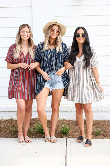Rust - Navy, and Ivory Striped Babydoll Dresses