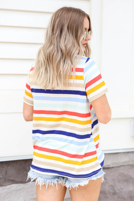 Model wearing Multi-Color Striped Basic Tee Back View