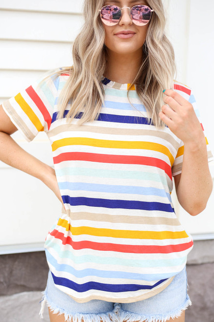 Model wearing Multi-Color Striped Basic Tee Detail View