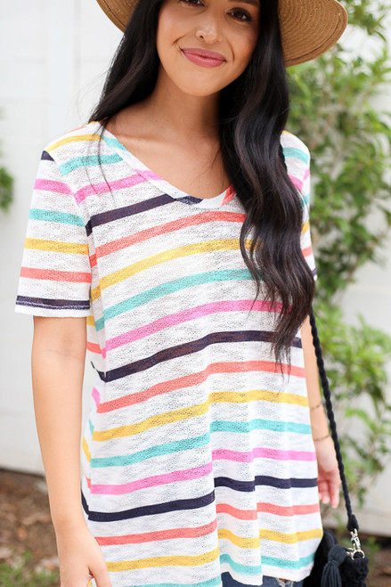 Model wearing Multi-Color V-Neck Striped Knit Top Detail View
