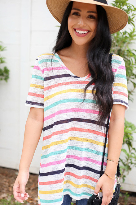 Model wearing Multi-Color V-Neck Striped Knit Top Front View