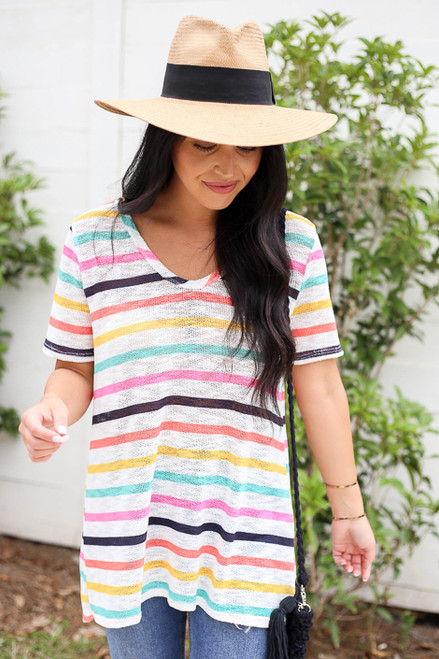 Multi - V-Neck Striped Knit Top