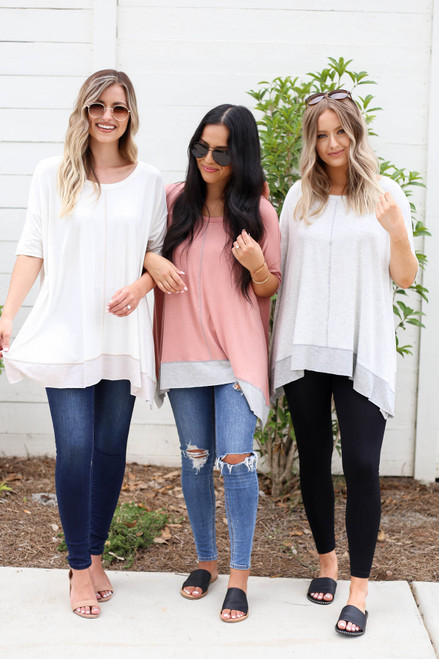 Heather Grey - White, and Peach Contrast Hem Oversized Top