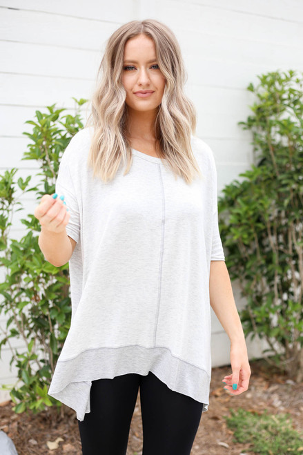 Heather Grey - Contrast Hem Oversized Top