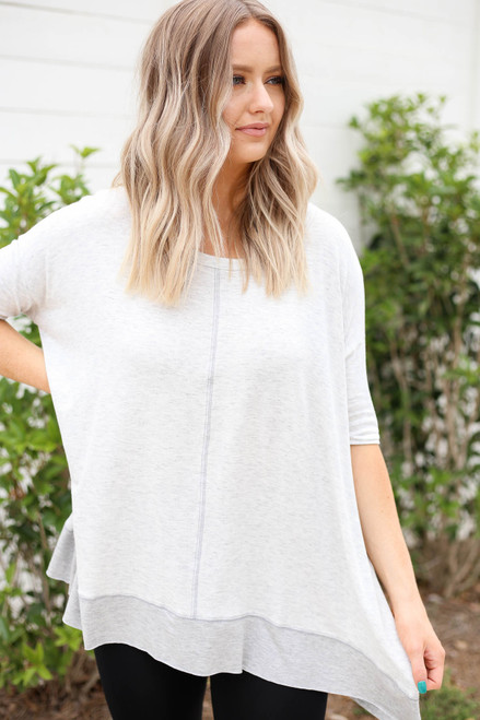 Model wearing Heather Grey Contrast Hem Oversized Top