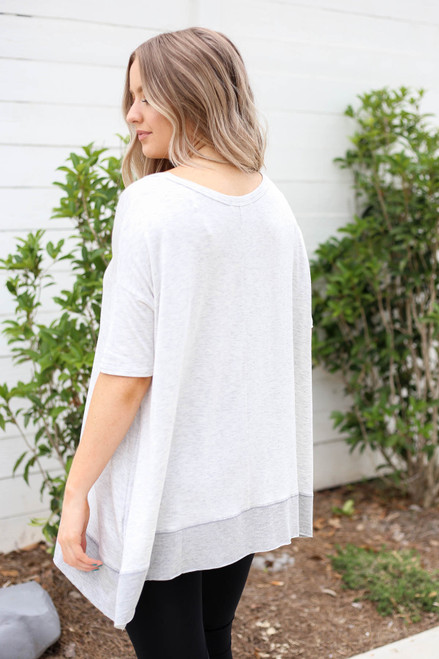 Model wearing Heather Grey Contrast Hem Oversized Top Back View