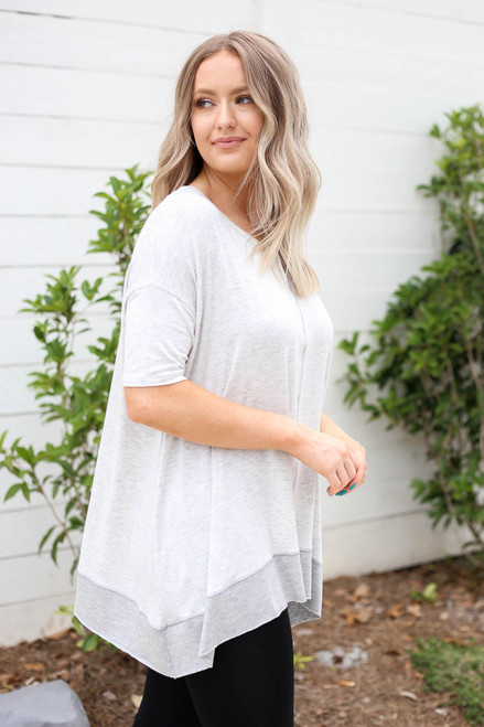 Model wearing Heather Grey Contrast Hem Oversized Top Side View