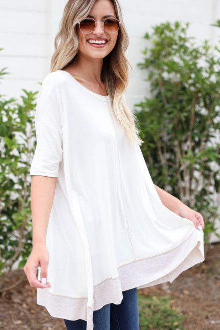 White - Contrast Hem Oversized Top Side View