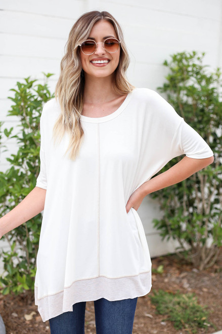 White - Contrast Hem Oversized Top