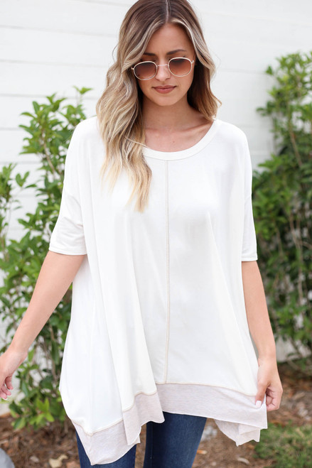 Model wearing White Contrast Hem Oversized Top Front View