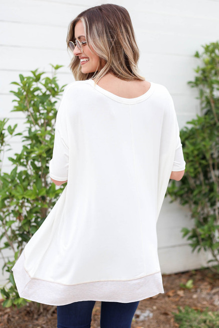 Model wearing White Contrast Hem Oversized Top Back View