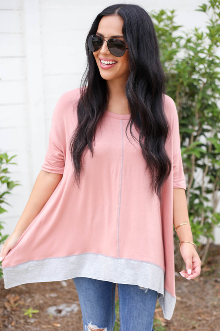 Model wearing Peach Contrast Hem Oversized Top Front View