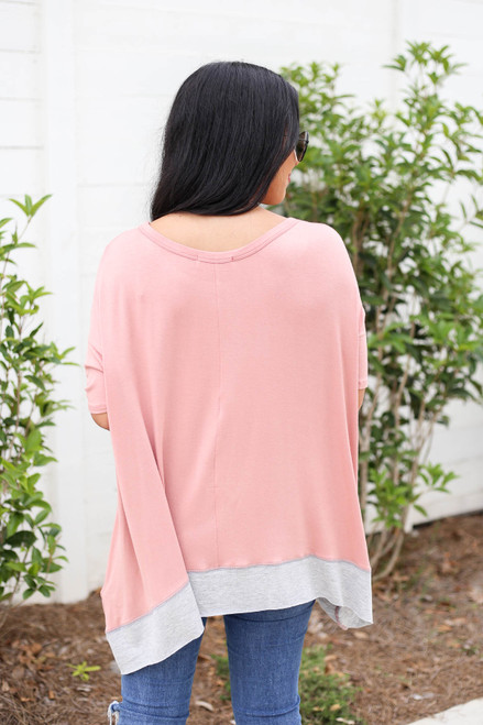 Peach - Contrast Hem Oversized Top Back View