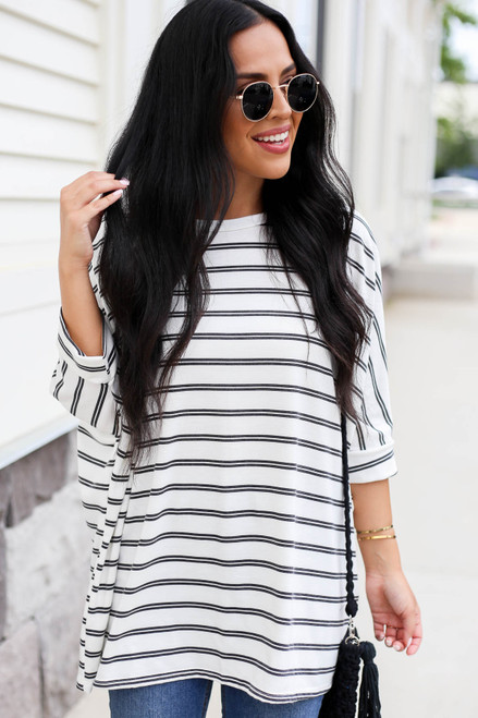 White - and Black Striped Oversized Top