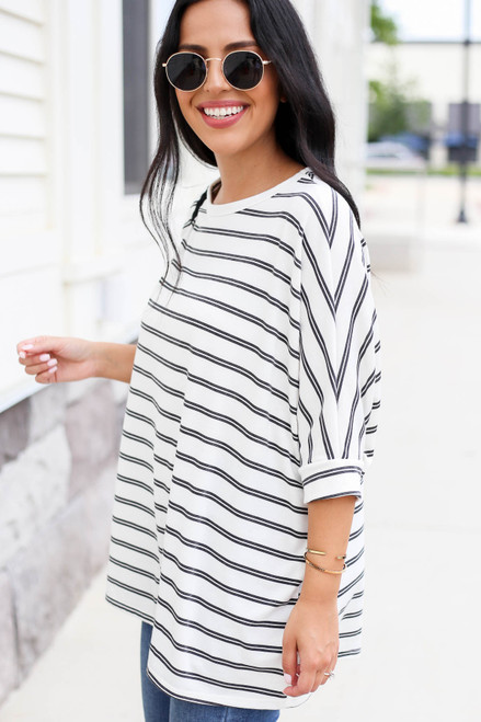 White - and Black Striped Oversized Top Side View
