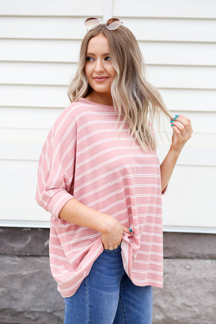 Blush - and White striped Oversized Top Side View