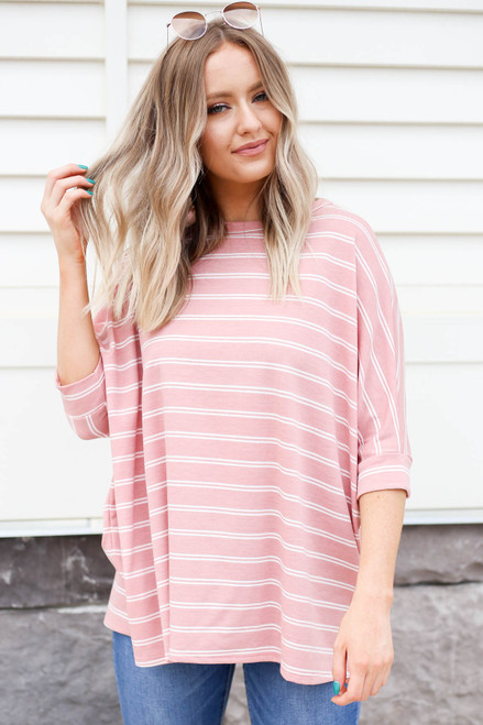 Blush - and White striped Oversized Top