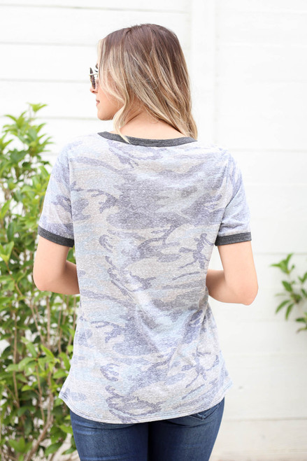 Model wearing Olive Camo Ringer Tee Back View