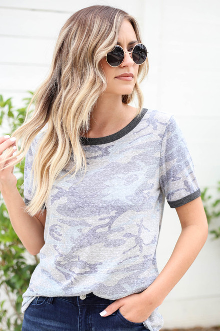 Model wearing Olive Camo Ringer Tee Front View