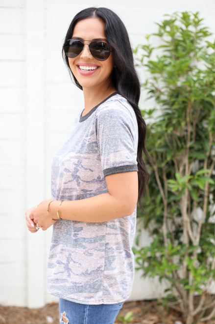 Model wearing Taupe Camo Ringer Tee Side View