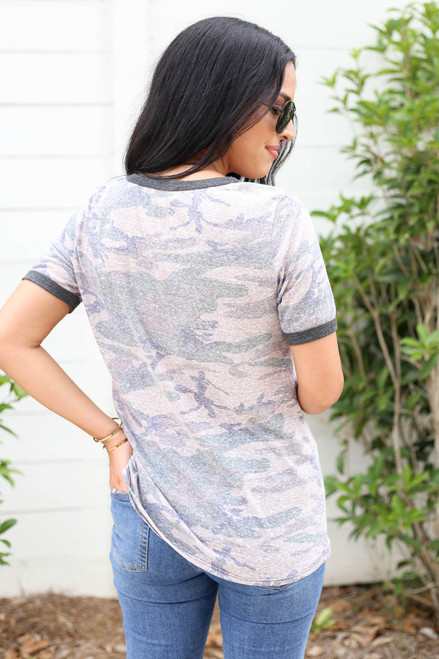 Model wearing Taupe Camo Ringer Tee Back View