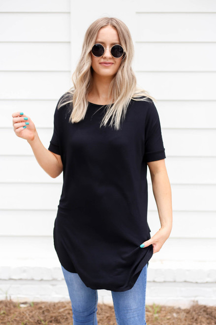 Model wearing Black Side Slit Tunic Front View