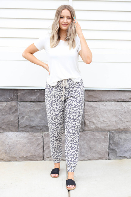 Model wearing Grey Leopard Print Lounge Joggers Front View