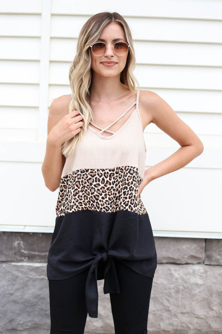 Taupe - Color Block Leopard Print Tank Top