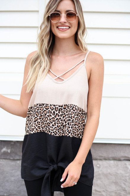 Model wearing Taupe Color Block Leopard Print Tank Top Front View
