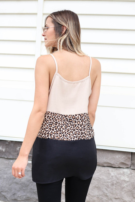 Model wearing Taupe Color Block Leopard Print Tank Top Back View