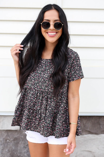 Black - Floral Tiered Blouse