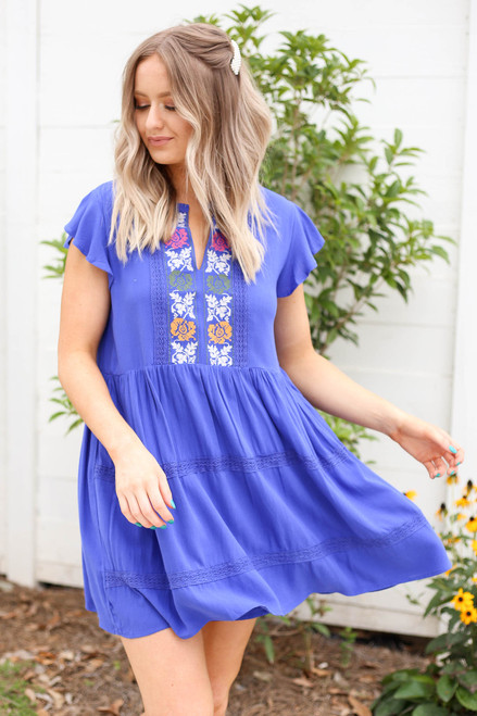 Blue - Embroidered Mini Dress