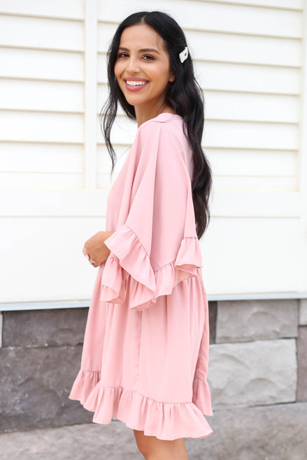 Blush - Statement Sleeve Ruffled Mini Dress Side View
