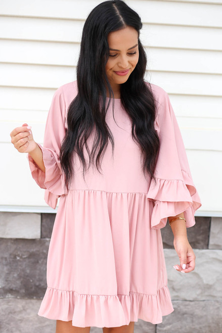 Blush - Statement Sleeve Ruffled Mini Dress