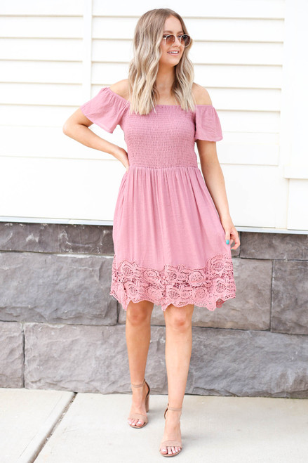 Pink - Smocked Crochet Mini Dress