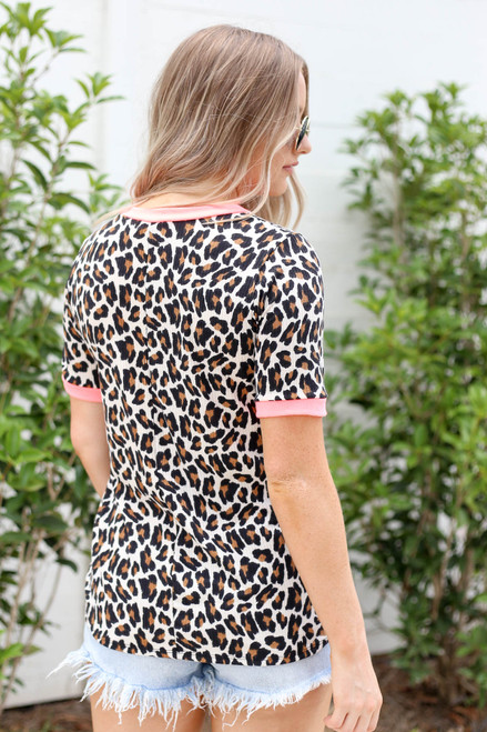 Model wearing Leopard Print and Neon Pink Ringer Tee Back View